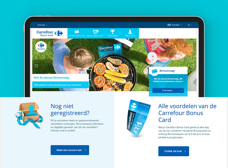 Carrefour tablet, home page, case study