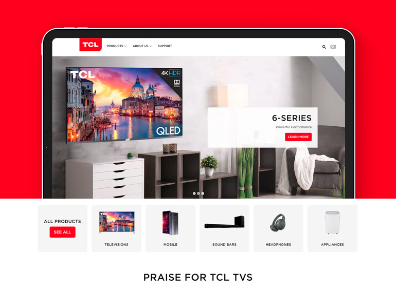 TCL tablet, home page, case study