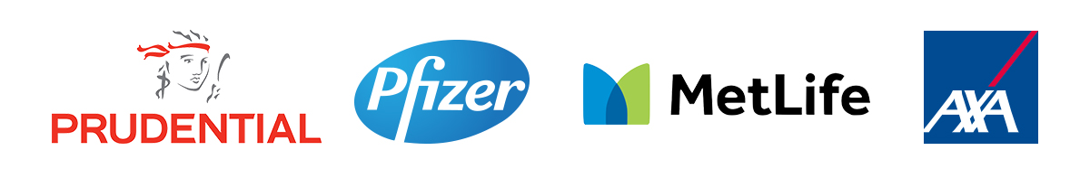 logos of Appnovation CX and UX clients MetLife Pfizer Prudential Australia and AXA