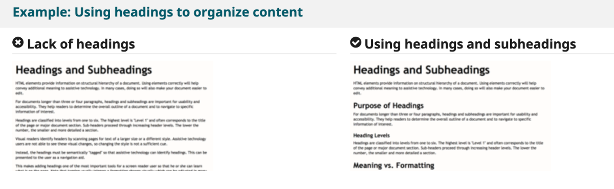 Example: Use headers to organize content