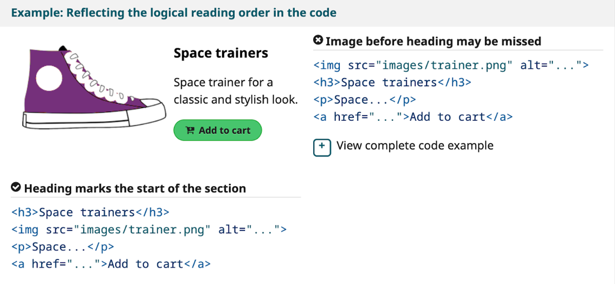 Reflect the logical reading order in the code