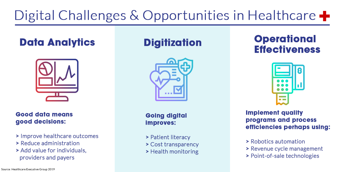 Chart showing challenges in health data analytics digitization and operational effectiveness.
