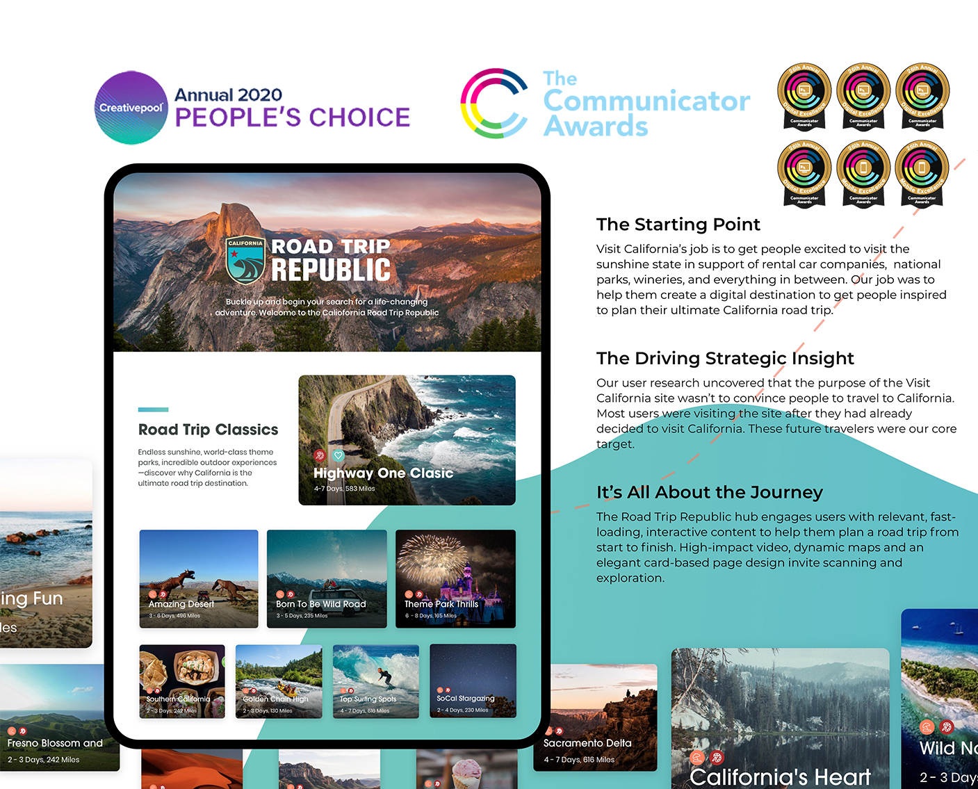 Visit California Responsive Preview, 6 Communicator Awards, Creativepool The People's Choice Award.